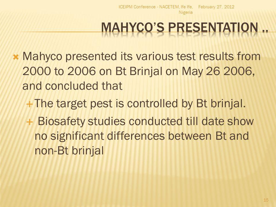 Mahyco's Presentation ..