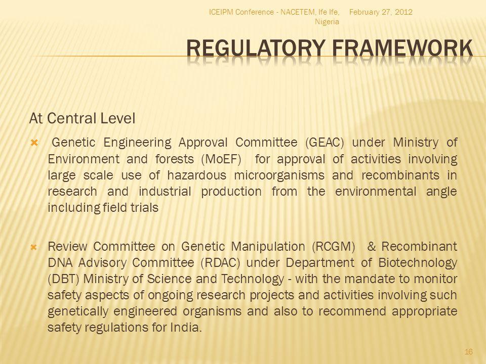 Regulatory Framework At Central Level