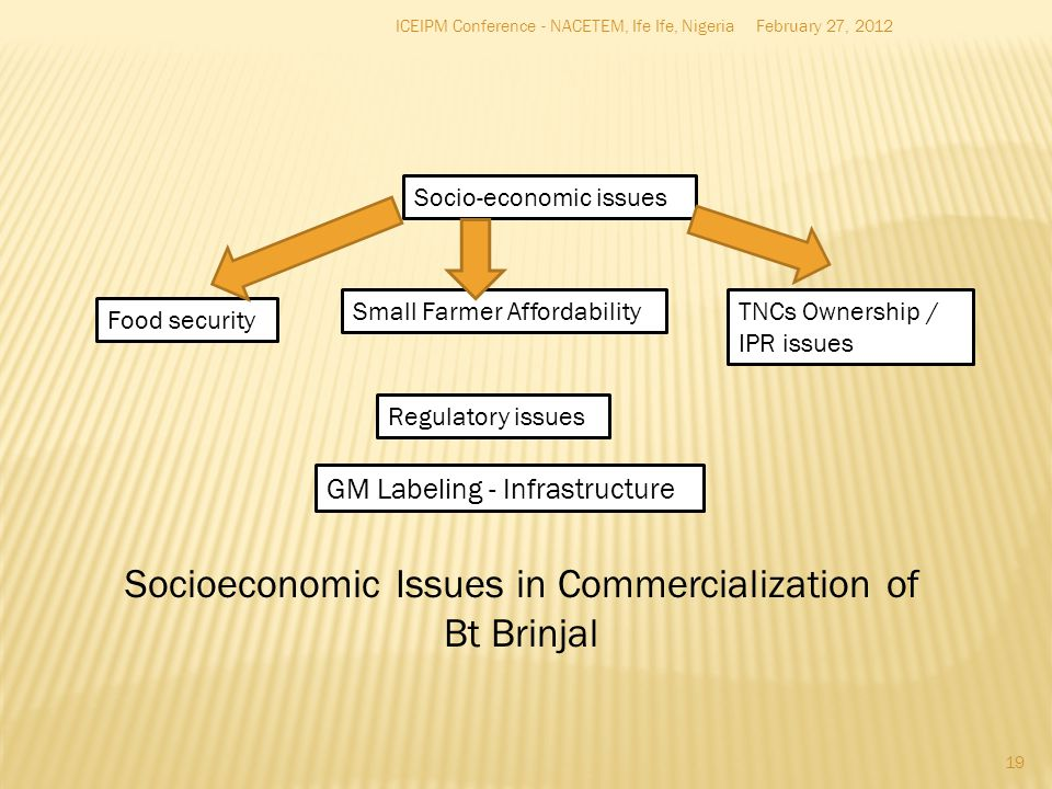 Socioeconomic Issues in Commercialization of
