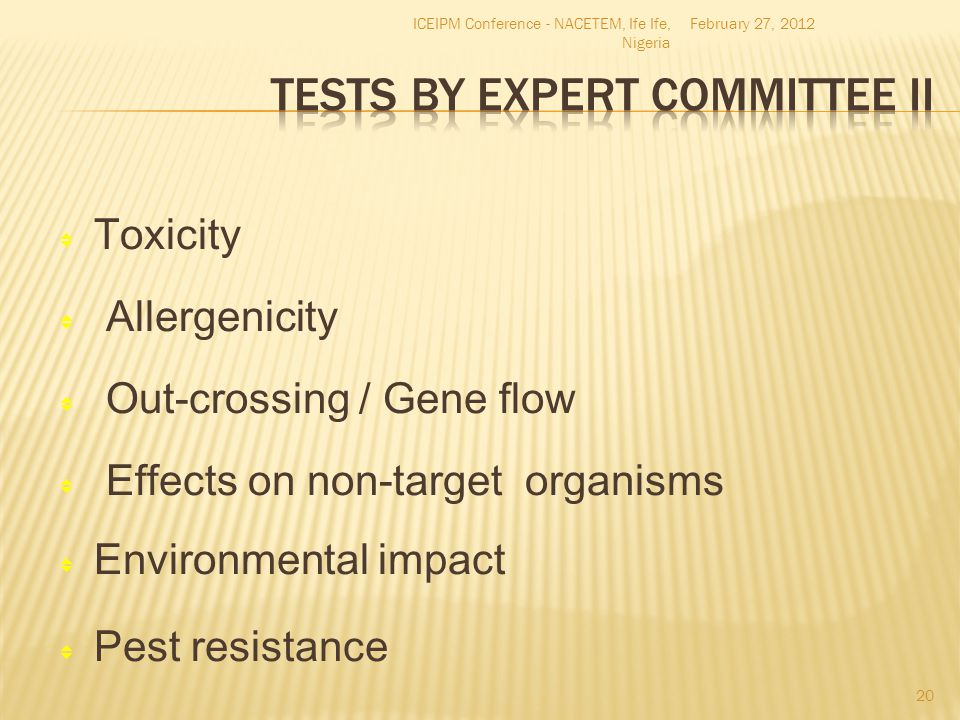 Tests by Expert Committee II
