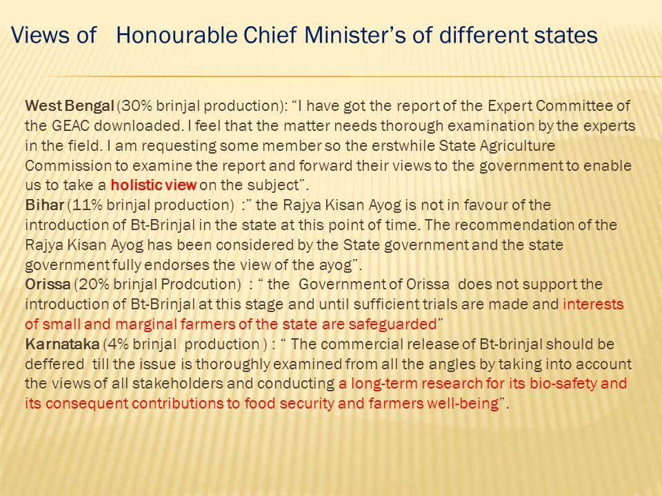 Views of Honourable Chief Minister's of different states