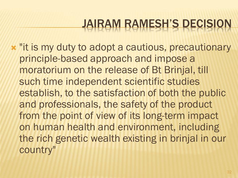Jairam Ramesh's decision