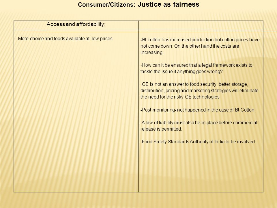Consumer/Citizens: Justice as fairness
