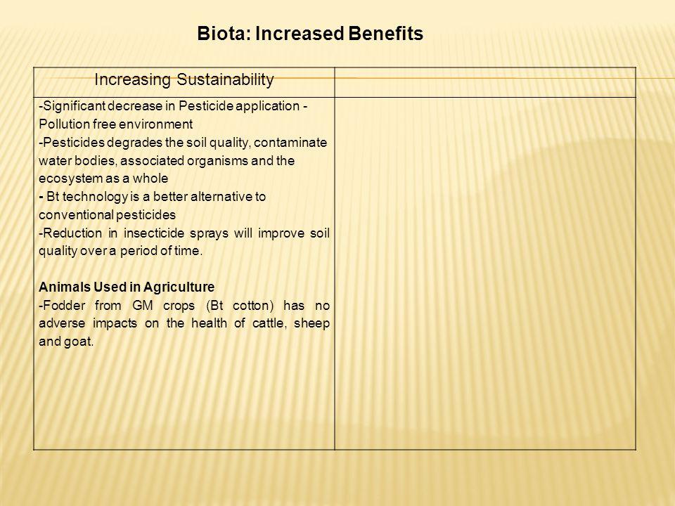 Biota: Increased Benefits