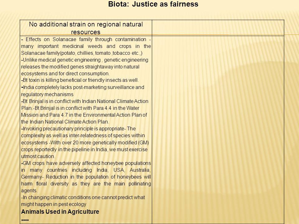Biota: Justice as fairness
