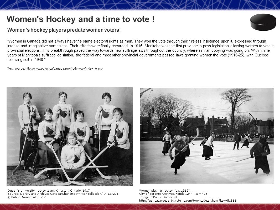 Women s Hockey and a time to vote !