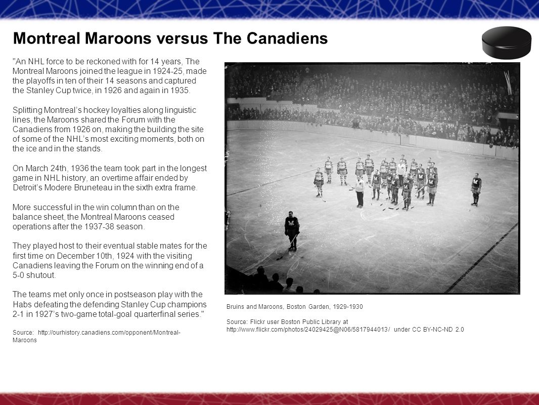 Montreal Maroons versus The Canadiens