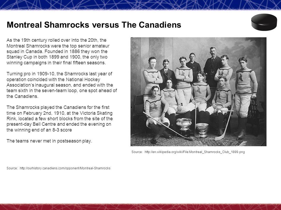 Montreal Shamrocks versus The Canadiens