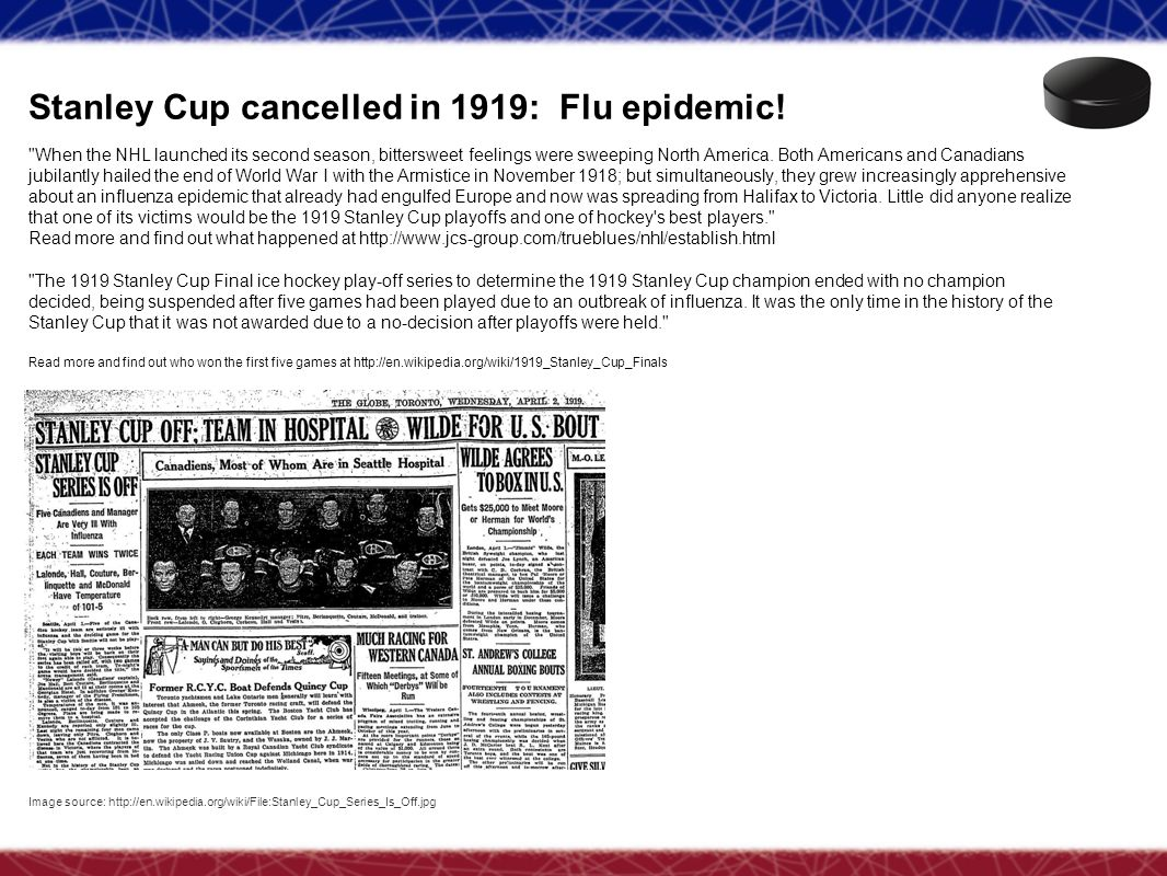 Stanley Cup cancelled in 1919: Flu epidemic!