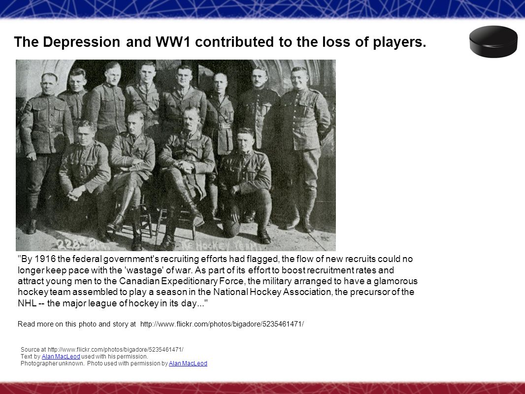 The Depression and WW1 contributed to the loss of players.