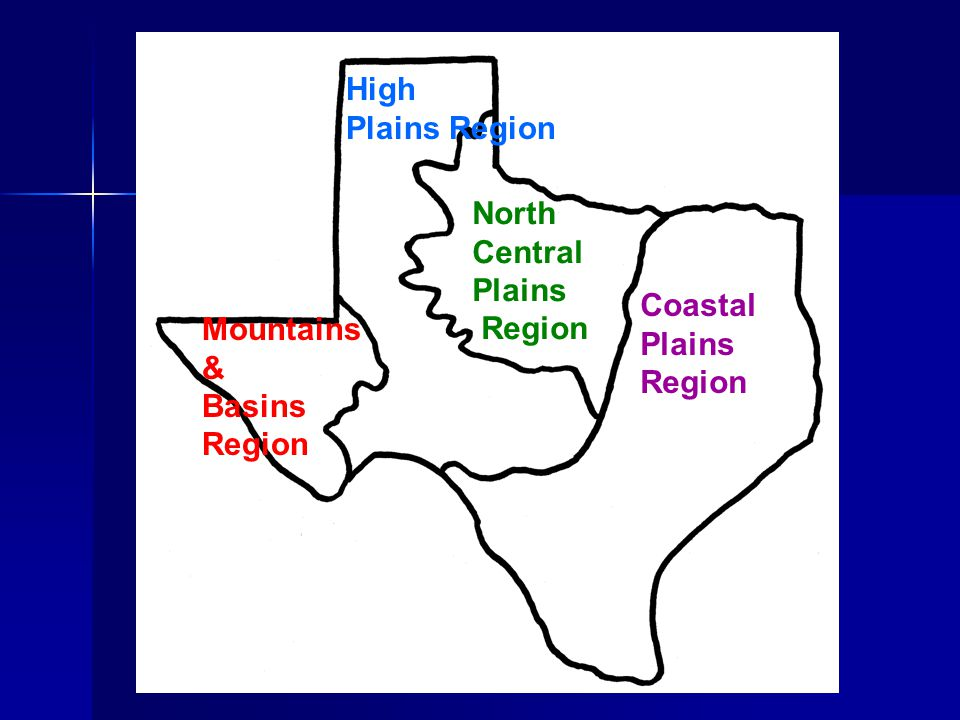 High Plains Region North Central Plains Region Coastal Plains Region Mountains & Basins Region