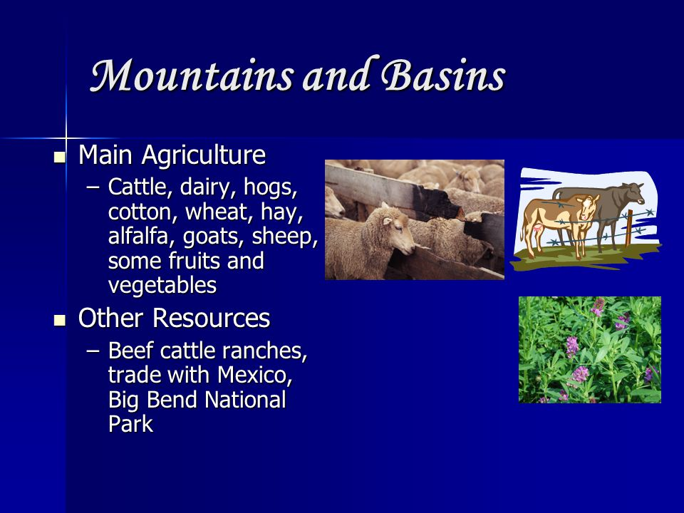 Mountains and Basins Main Agriculture Other Resources