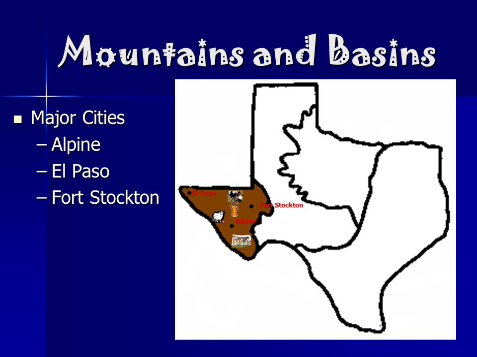Mountains and Basins Major Cities Alpine El Paso Fort Stockton El Paso
