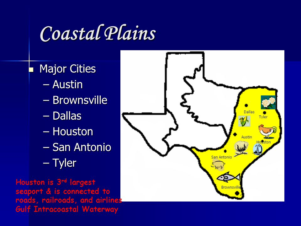 Coastal Plains Major Cities Austin Brownsville Dallas Houston