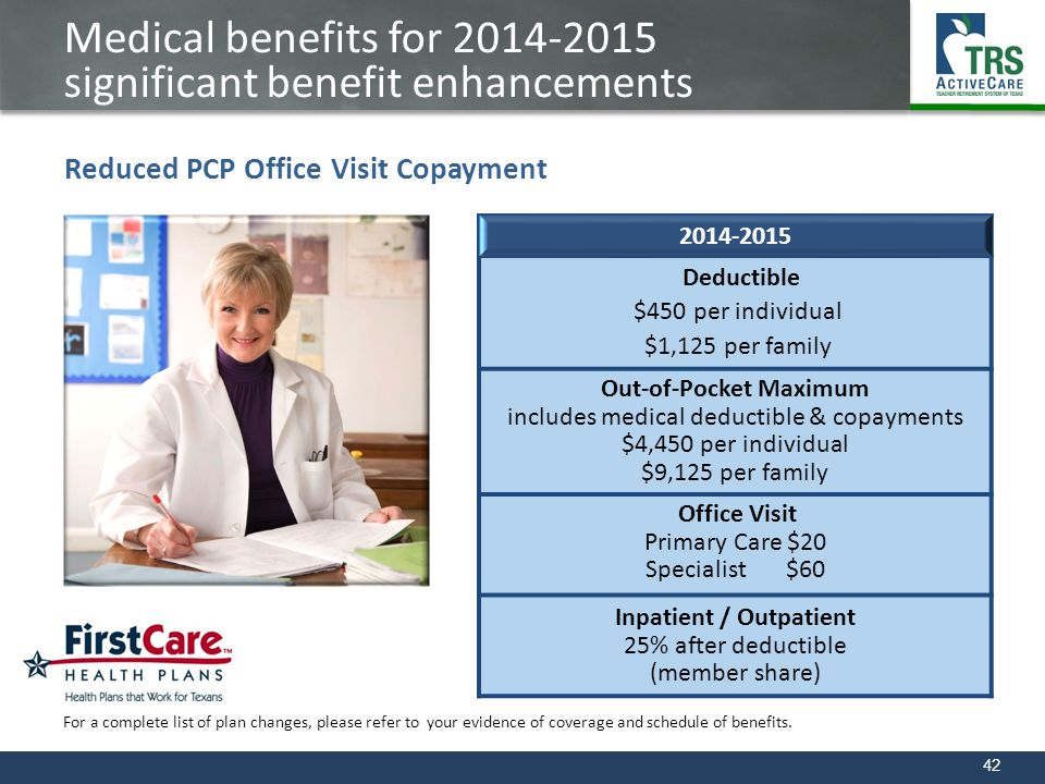 Medical benefits for 2014-2015 significant benefit enhancements