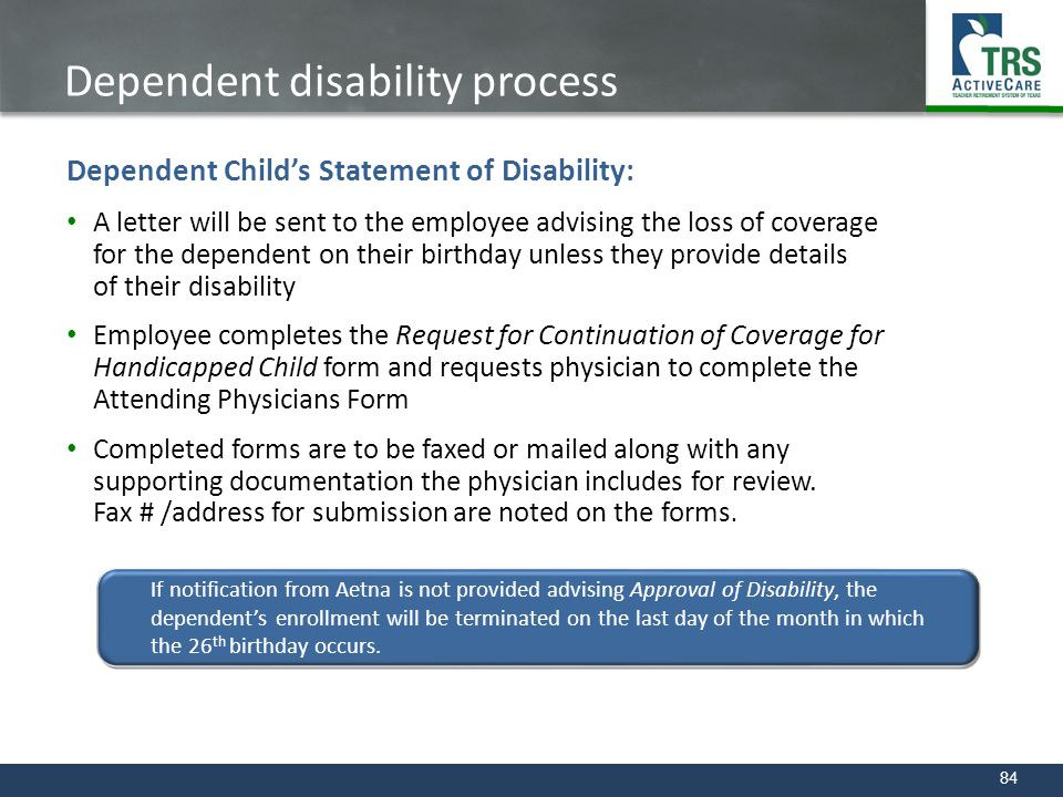 Dependent disability process