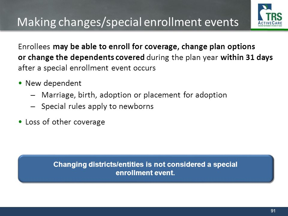 Making changes/special enrollment events