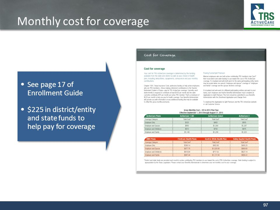 Monthly cost for coverage