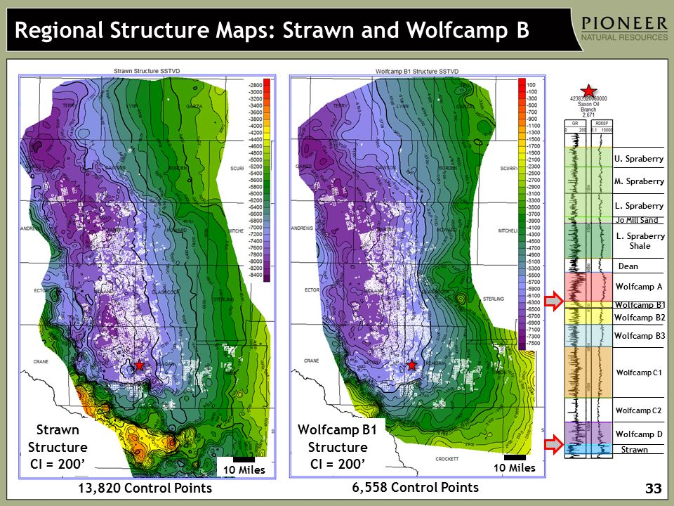 Regional Structure Maps: Strawn and Wolfcamp B