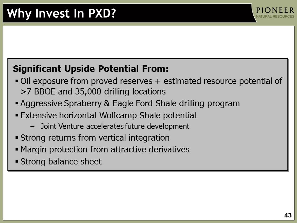 Why Invest In PXD Significant Upside Potential From: