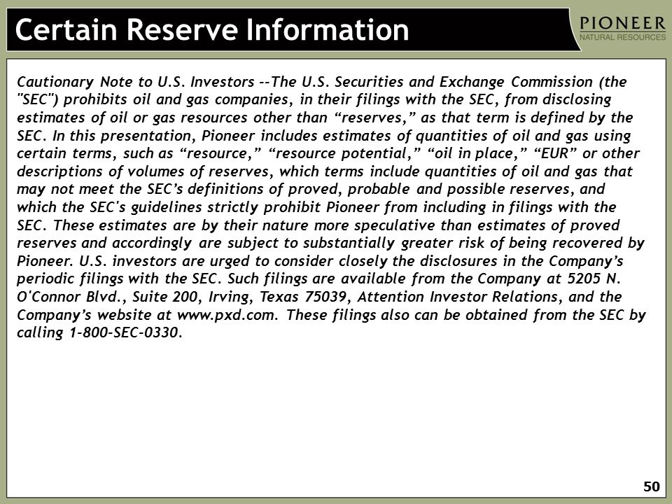 Certain Reserve Information