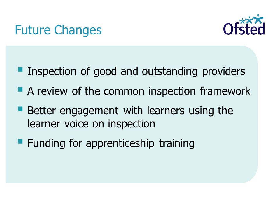 Future Changes Inspection of good and outstanding providers