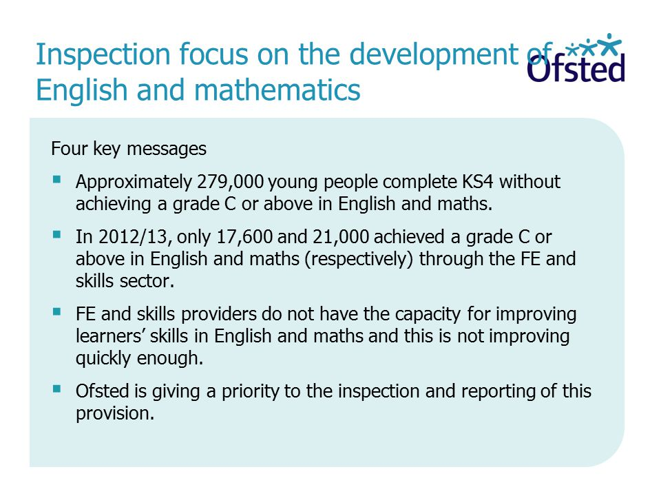 Inspection focus on the development of English and mathematics