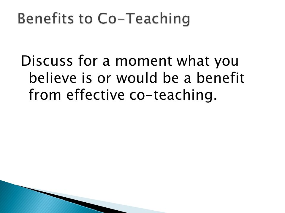 Benefits to Co-Teaching