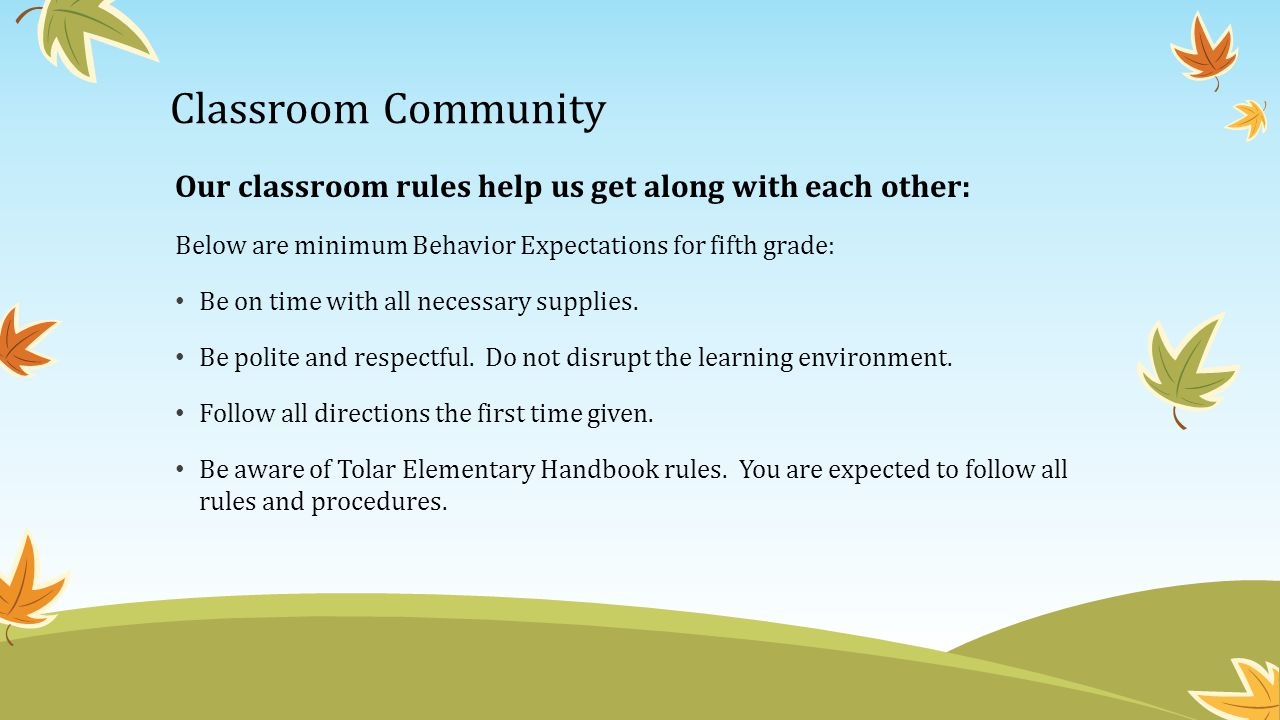 Classroom Community Our classroom rules help us get along with each other: Below are minimum Behavior Expectations for fifth grade:
