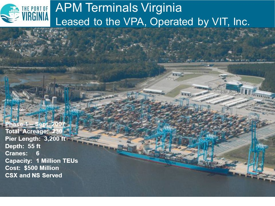 APM Terminals Virginia Leased to the VPA, Operated by VIT, Inc.