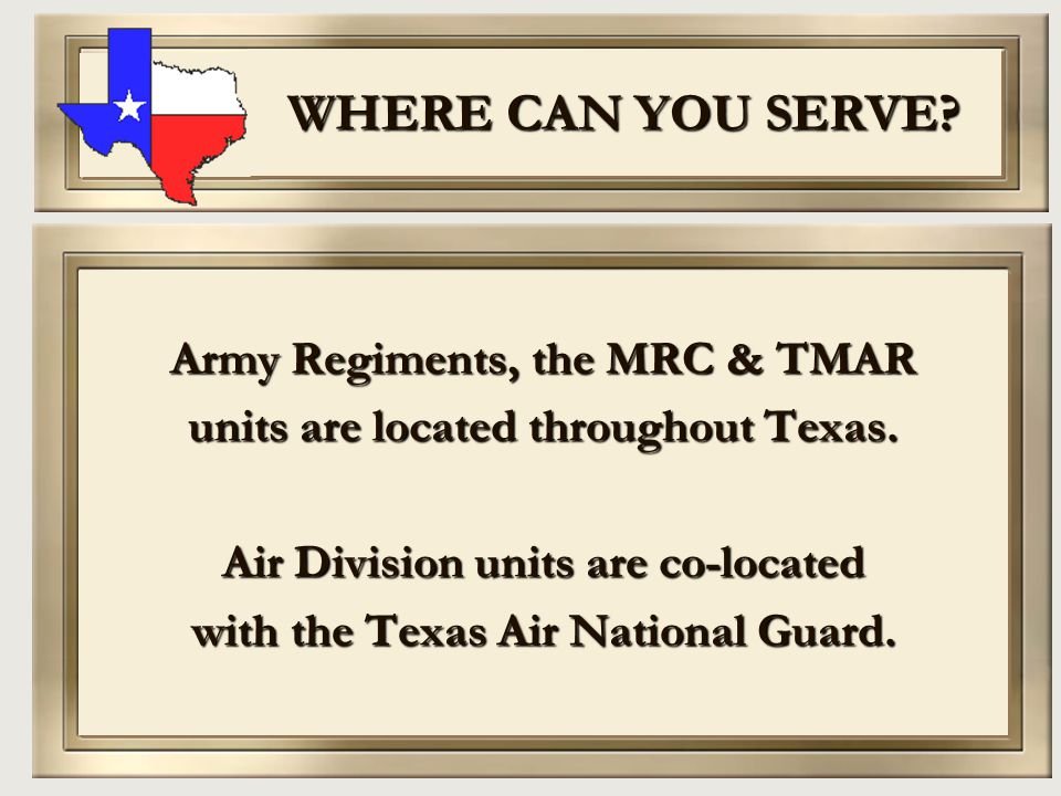 WHERE CAN YOU SERVE Army Regiments, the MRC & TMAR