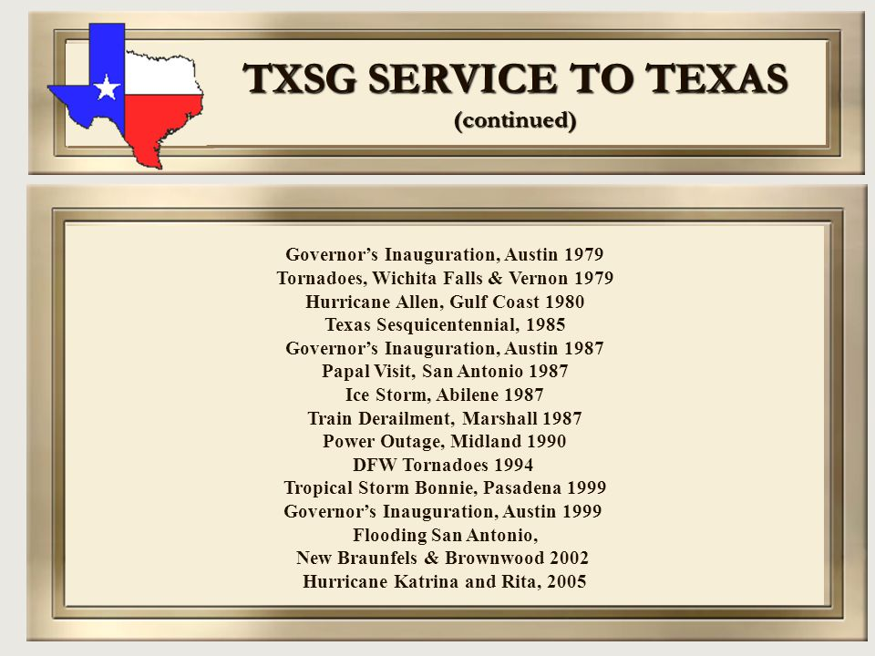 TXSG SERVICE TO TEXAS (continued)