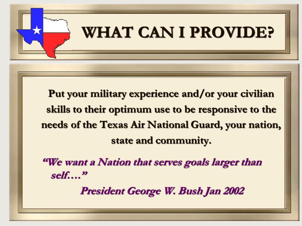 WHAT CAN I PROVIDE Put your military experience and/or your civilian