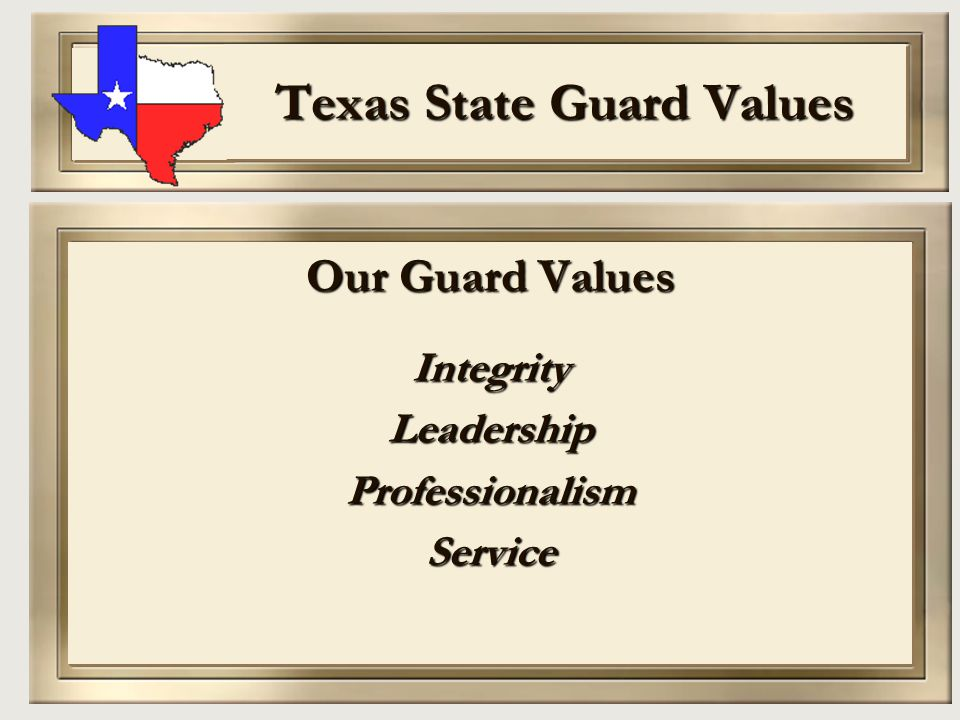 Texas State Guard Values