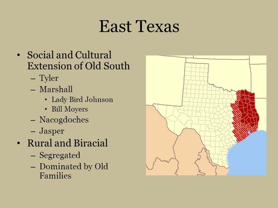 East Texas Social and Cultural Extension of Old South