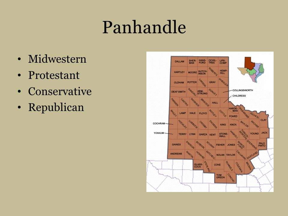 Panhandle Midwestern Protestant Conservative Republican