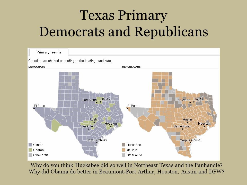 Texas Primary Democrats and Republicans