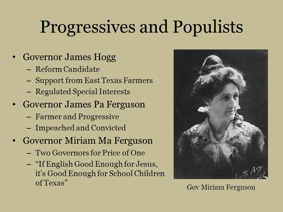 Progressives and Populists