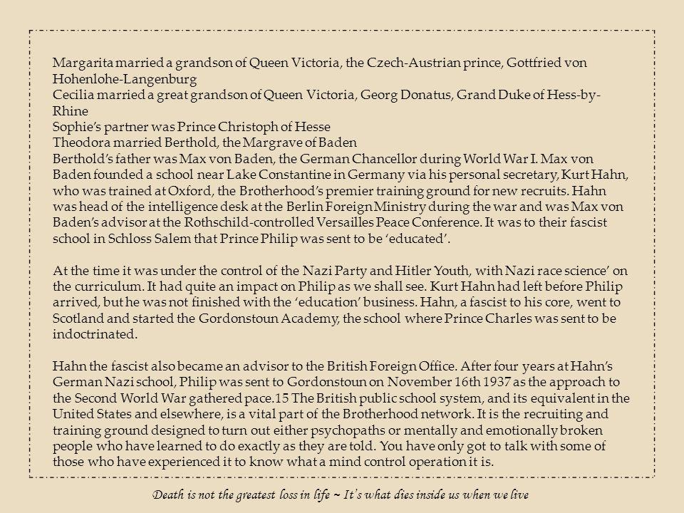 Margarita married a grandson of Queen Victoria, the Czech-Austrian prince, Gottfried von Hohenlohe-Langenburg