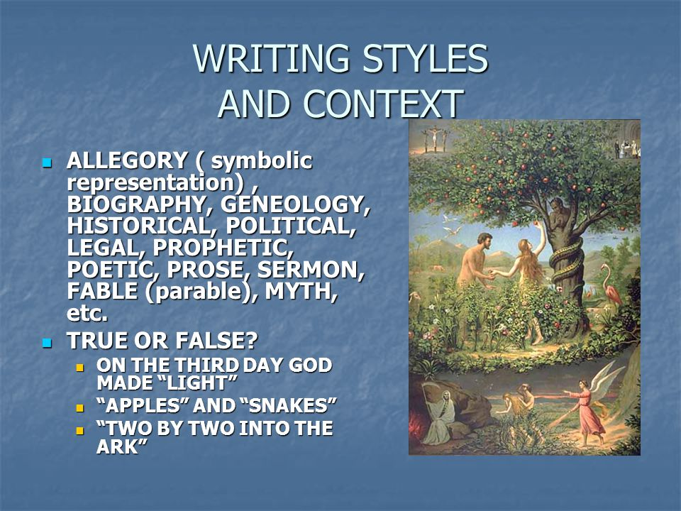 WRITING STYLES AND CONTEXT
