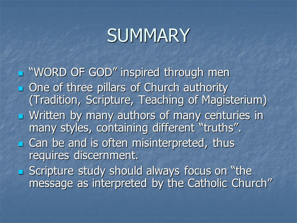 SUMMARY WORD OF GOD inspired through men