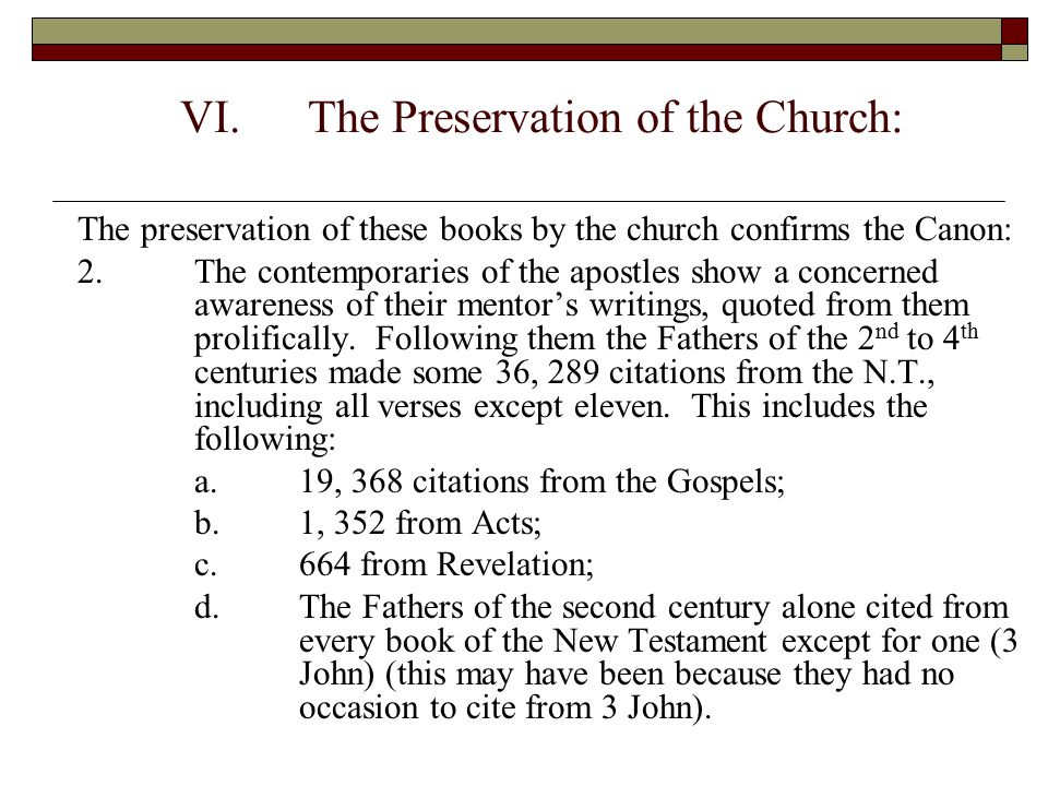 The Preservation of the Church: