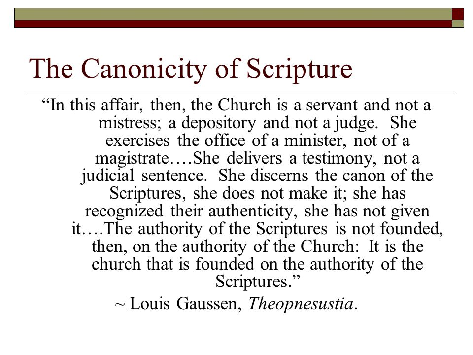 The Canonicity of Scripture