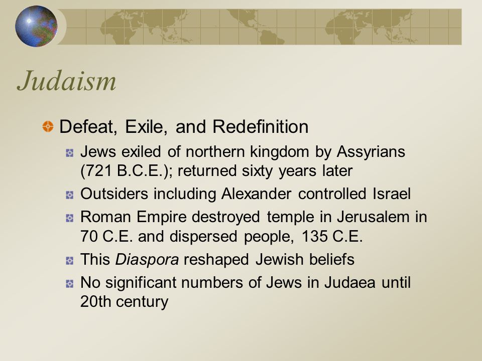Judaism Defeat, Exile, and Redefinition