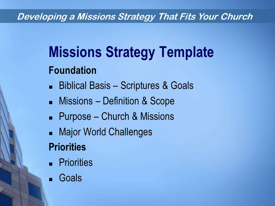 Missions Strategy Template