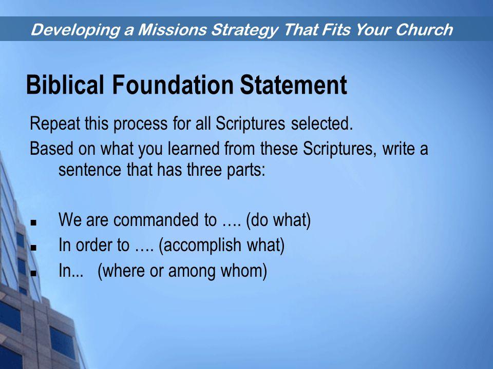 Biblical Foundation Statement