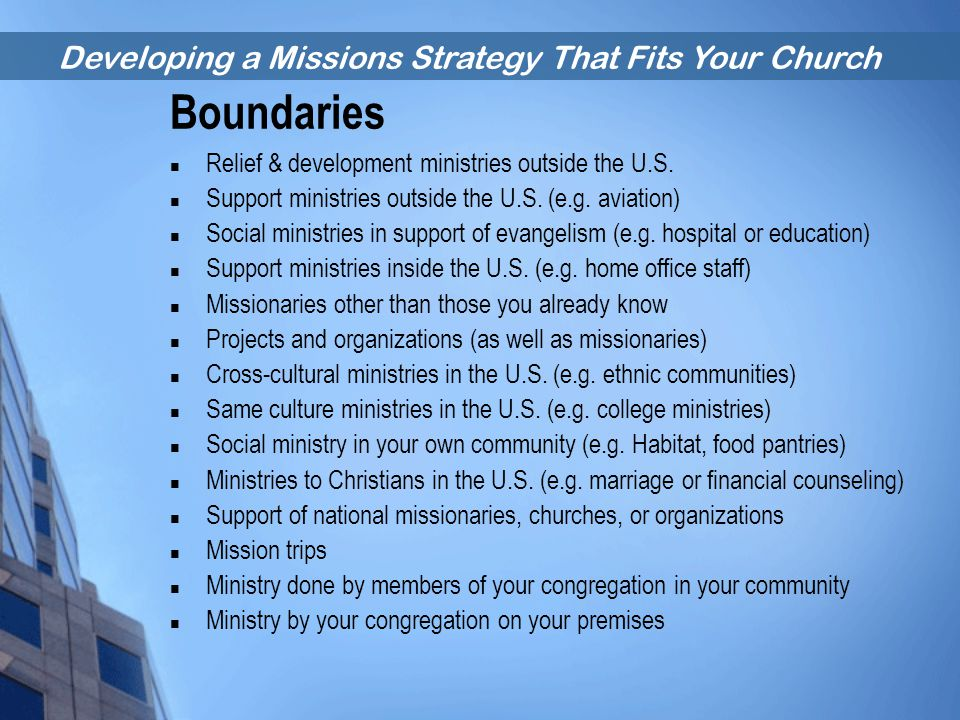 Boundaries Relief & development ministries outside the U.S.
