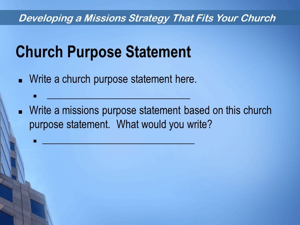 Church Purpose Statement
