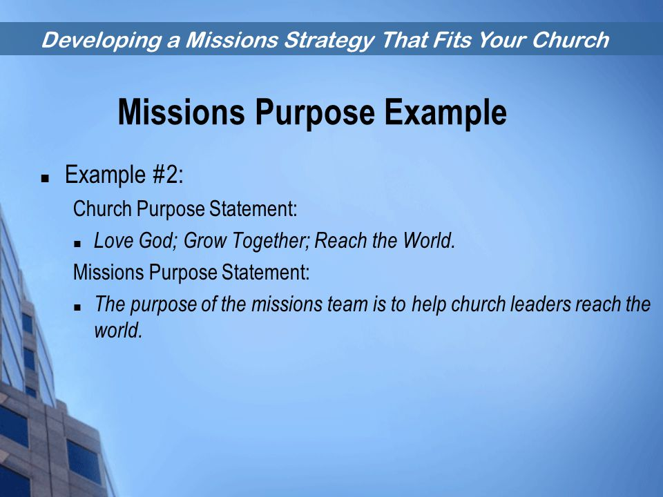 Missions Purpose Example