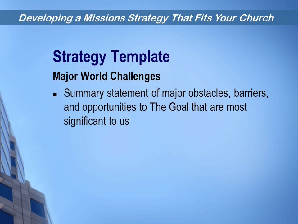 Strategy Template Major World Challenges